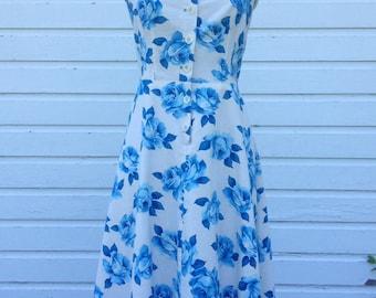 SALE! Vintage Dress Replica 1940s, Blue Floral, Handmade, Strapless, Halter