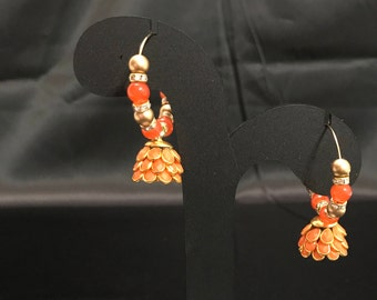 Indian Jhumki Earrings - Indian Orange Earrings - Indian Jewelry - Kundan Jewelry - Jhumka Earrings - Bollywood Earrings - Desi Jewelry -