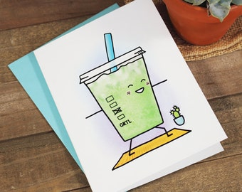 Green Tea Latte Yoga Greeting Card (Health, Mother's Day, Birthday, Thank You)
