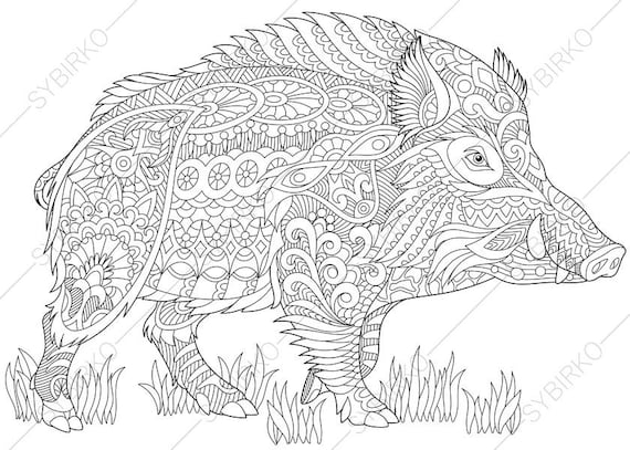 2 Coloring Pages. Animal Coloring Book Pages For Adults. Instant Download  Print
