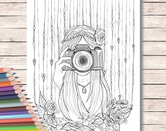 Printed Coloring Pages for Adults or kids Beautiful Girl with