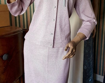 SOLD 1950s Baby Pink and Silver Lurex Suit Pencil Skirt with Matching Cardigan by Toplet (Manhattan Exclusive)
