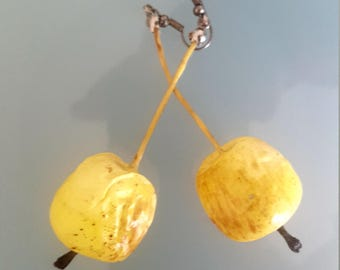 Apple shape yellow drop earrings
