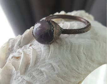 Amethyst Crystal Ball Electroformed Ring | Electroplated Amethyst Gemstone | Crystal Jewelry | Witchy Occult