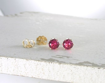 Ruby Stud Earrings July Birthstone Earrings Gold Stud Earrings Pink Ruby Earrings Tiny Stud Earrings Birthstone Jewelry Holiday Gift For Her