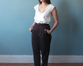 high waisted brown trousers | high waist belted pants | 1990s