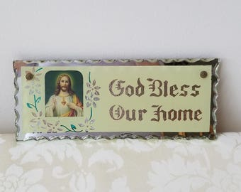 "Vintage ""God Bless Our Home"" Foil Mirror Glass Religious Wall Art Plaque Sign, Jesus Sacred Heart"