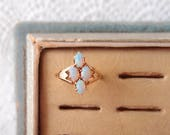 antique Opal Ring / 14 karat gold Belle Epoque navette Marquise quatrefoil 4 stone ring ... size 5.5