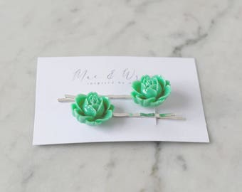 Flower Bobby Pins, Hair Slide, Womens Hair Accessories, Girls Hair Clips, Hair Barrette, Greenery Wedding, Bridesmaid Gift, Gift For Women