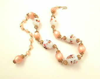 Pink Moonglow Lucite and Glass Millefiori Bead Necklace - Adjustable Clasp - Vintage Beaded Necklace
