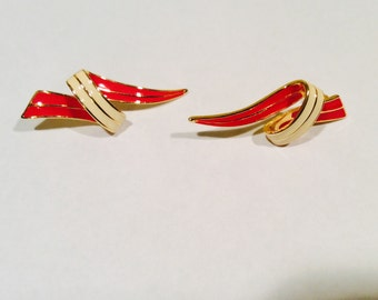 OFO Pierced Earrings Red and white Enameled