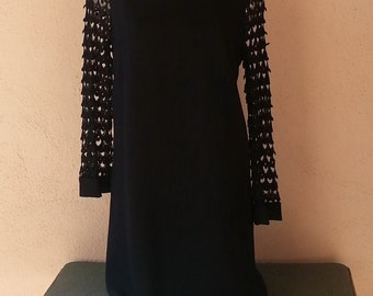 60's vintage little black cocktail dress with scalloped lace sleeves