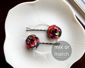 Dainty Rose Red and Black Hair Pins, Stocking Stuffers for Women Gifts Under 10, Short Hair Clip Small Hairpins, Christmas Floral Bobby pin