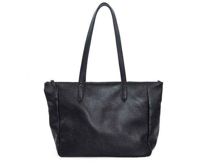 Large black leather zip top bag, women tote bag, everyday shoulder bag