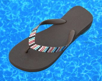 Custom Crystal Havaianas flat or Cariris Wedge Heel Flip Flops Stripe MultiColor Chocolate design w/ Swarovski Rhinestone Bling Beach Shoes