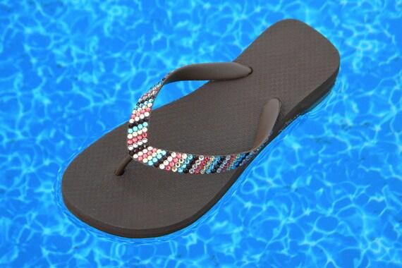 Custom Crystal Havaianas flat or Cariris Wedge Heel Flip Flops Stripe MultiColor Chocolate design w/ Swarovski Rhinestone Bling Beach Shoes