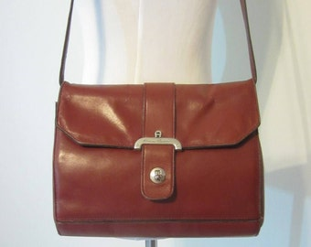 Vintage Etienne Aigner Leather Purse, Hand Made Leather Handbag in Antic Red, Circa 1970s.