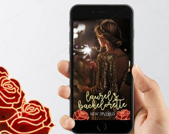 Bachelorette Party Geofilter Snapchat Filter, Rose Birthday Snapchat Filter, Neon Sign Birthday Bachelorette Geofilter, Snapchat Geofilter