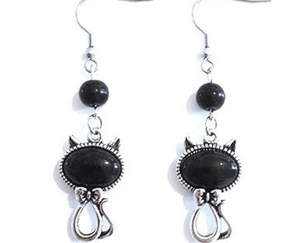 Silver Metal Cat Earrings with Black Stone and Glass Beads