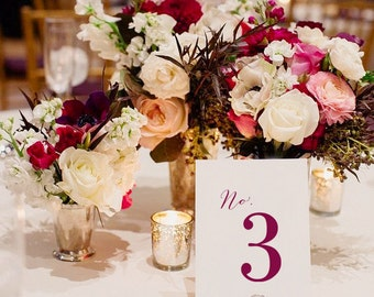 Simple Number Wedding Table Numbers, 4x6, 5x7, OR tented