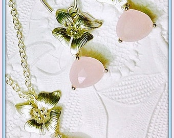 Bridesmaids Pink Opal and Flower Set,Beautiful Soft Pink Glass Crystals,3 Dimensional Rhodium Flowers,Bridal Earrings and Sterling Necklace