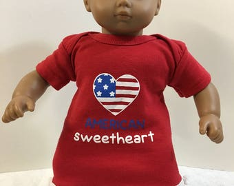 "15 inch Bitty Baby Clothes, Patriotic ""FLAG - American Sweetheart"" Dress, 15"" AG Bitty Baby or Twin, Fits 16"" Cabbage Patch, 4th of July!"
