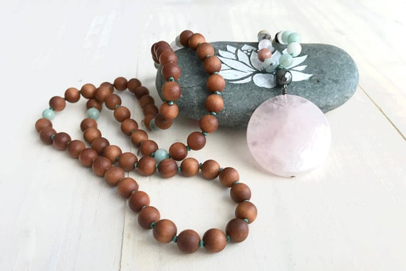 Rose Quartz Mala Beads, Mala Necklace For A Positive Attitude, Sandalwood Amazonite Mala Necklace, Hand Knotted 108 Bead Mala, Yoga Beads