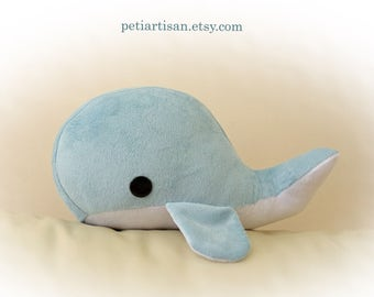 Baby Whale Pillow, Toy Pillow, 3D Pillow, Stuffed Animal, Nautical Decor, Beach House Decor