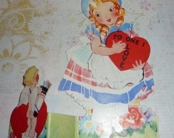 Cute little Girl With Heart and Cupid Vintage Standing Valentine Card