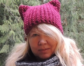 Crochet Kitty hats, Luv Beanies, Cat hats, Kitty Hats, Girl Hats, Photo Props, Crochet Cat Hats, Pink Pussy Cat Hat, Valentines