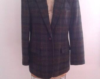 Vintage Ralph Lauren Dark Green Navy Blue Plaid Wool Jacket Blazer Sz 14 P Preppy WASP Classic