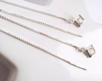 Ears short chains or long Silver 925 silver chain fine wire pendant diamond crystal faceted shiny Threader earrings
