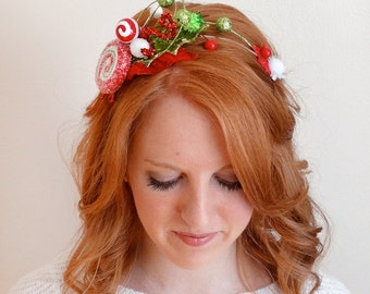 christmas candy headband, ugly sweater party headband, tacky Christmas headband, peppermint headband, red and green, adult christmas hair