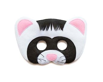 Ferret Felt Mask, Children Ferret mask, Adult animal mask, Woodland creature costume, Ferret costume, pretend play mask, forest photo prop