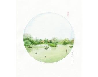 D12 PRINTS Bird Sanctuary, Canada, Watercolor painting landscape,Asian art,circle art, watercolor painting landscape,Feng shui decor,zen art