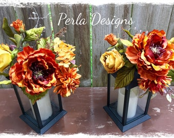 Fall Floral Lantern Swag, Fall Centerpiece, Fall Decor, Fall Floral Arrangement