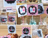 Gender Reveal Decorations Baby Q Gender Reveal party pink blue reveal party Cameron GR06 Printable - Instant Download