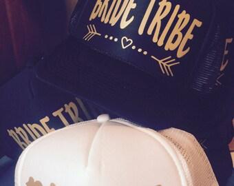 Bride Tribe Hats - FREE white BRIDE Hat - Bachelorette Parties - Snapback Trucker Hat
