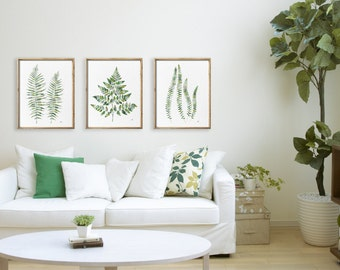 Exceptional Fern Painting Green Geometric Abstract Leaf Watercolor Print Set Of 3,  Leaves Wall Poster Ferns