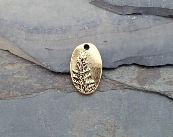Gold Redwood Oval Charm Antiqued N29,gold redwood charm,oval forest charm,oval tree charm,woodland charm,gold tree charm,gold pinetree charm