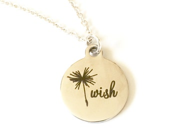 Wish Necklace, Dandelion Necklace, Dandelion Wish Necklace, Birthday Jewelry, Whimsical Jewelry, Birthday Gifts for Her, Make A Wish