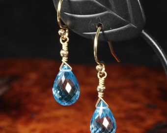 Topaz Earrings, Swiss Blue Topaz Earrings, Mothers Day Gift ,Dangle earrings,Topaz Jewelry,Tear Drop, Gift for mom, Gift for wife,