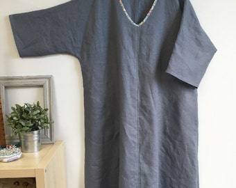 Plus-sized grey linen A-Line dress with Liberty trim.