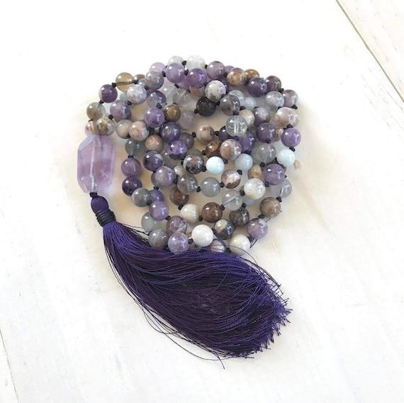 Mala Beads For Addictions, Amethyst And Aquamarine Mala Necklace, Natural Healing Mala, 108 Bead Mala, Yoga Meditation Beads, Spiritual