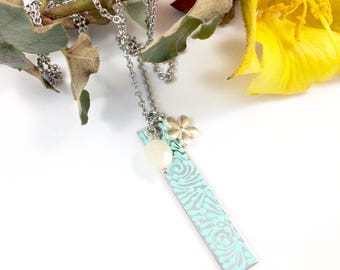 Bloom Collaboration Collection w/ Heather Nicole Designs, Painted Necklace, Bar Necklace Vertical Bar Pendant, Mothers Day Gift Jewelry Gift