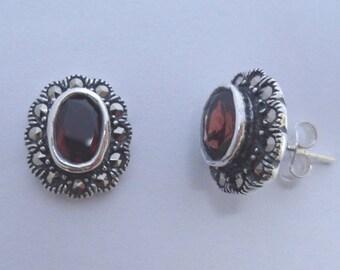 925 Sterling Silver Amethyst or Garnet & Marcasite Stones Vintage  Stud Earrings