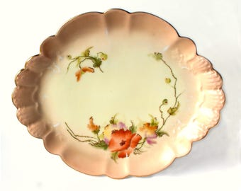 Antique Limoges Dish, H&C Haviland and Co. Limoges, France Early 1900's Hand-Painted Peaches and Cream Blush Dish / Plate / Tray / Platter