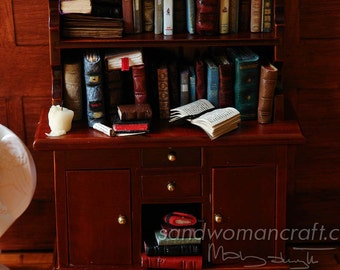 Dollhouse miniature bookcase with 60 miniature books, journals, candle in 1:12 scale. Leather and paper covers, aged dusty style for library