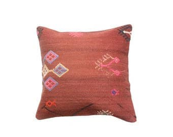 Vintage Red And Pink  Kilim Pillowcase 40 x 40