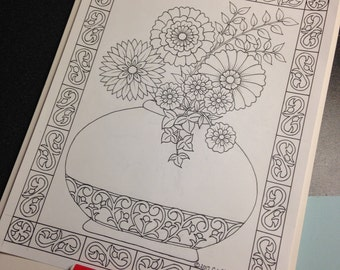 Ornamental Flower Vase #1 - Coloring Page